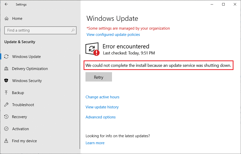 Fix We Could Not Complete The Install Because An Update Service Was Shutting Down