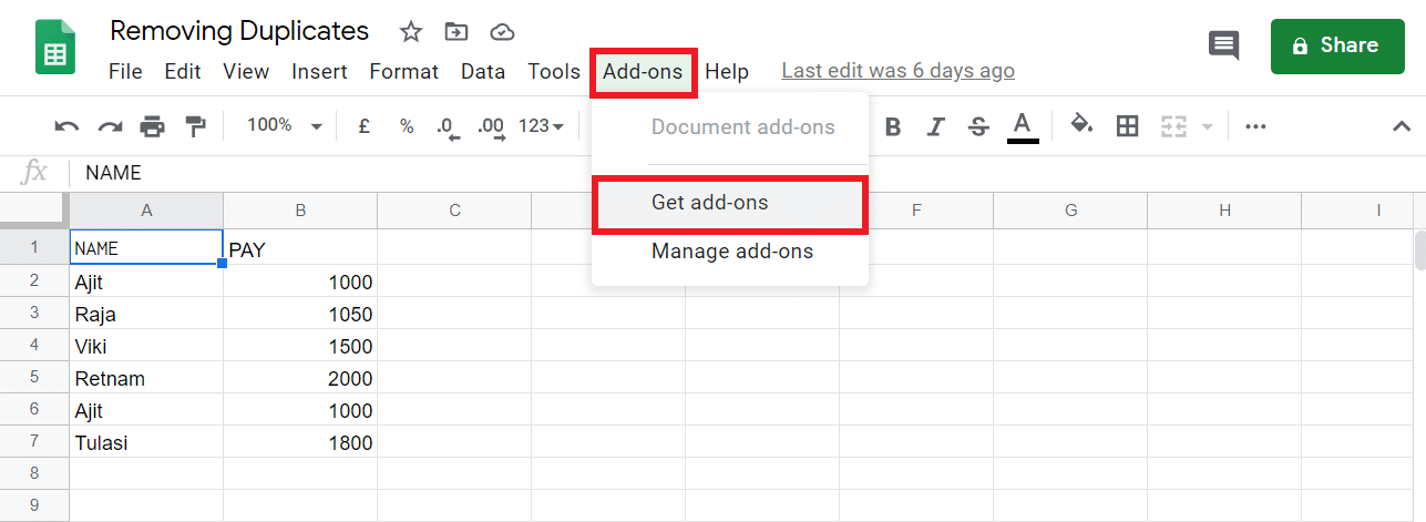 """From inside Google Sheets, locate a menu named """"Add-ons"""" and click on the """"Get add-ons"""" options"""