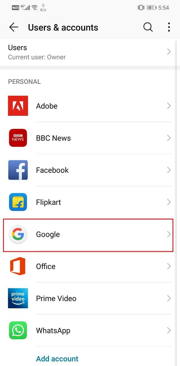 From the given list of accounts, select Google | Fix Google Calendar not syncing on Android