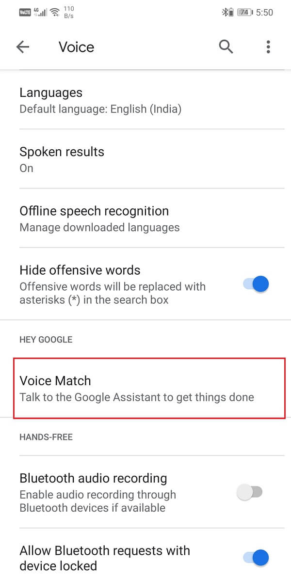 Go to the Hey Google section and select the Voice Match option