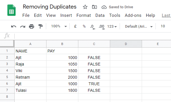 Google sheets would automatically copy the formula to the remaining cells