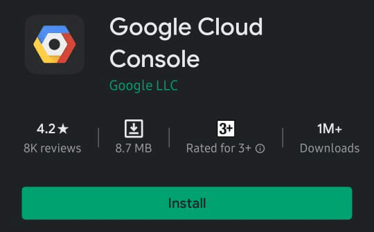 Install Google Cloud Console for Android