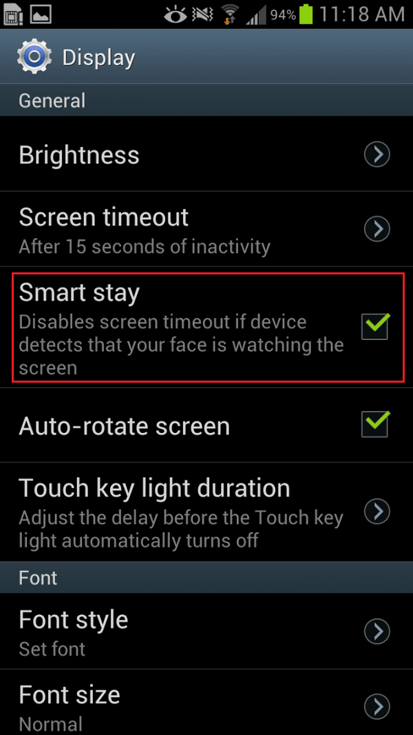 Look for the Smart Stay option and tap on it