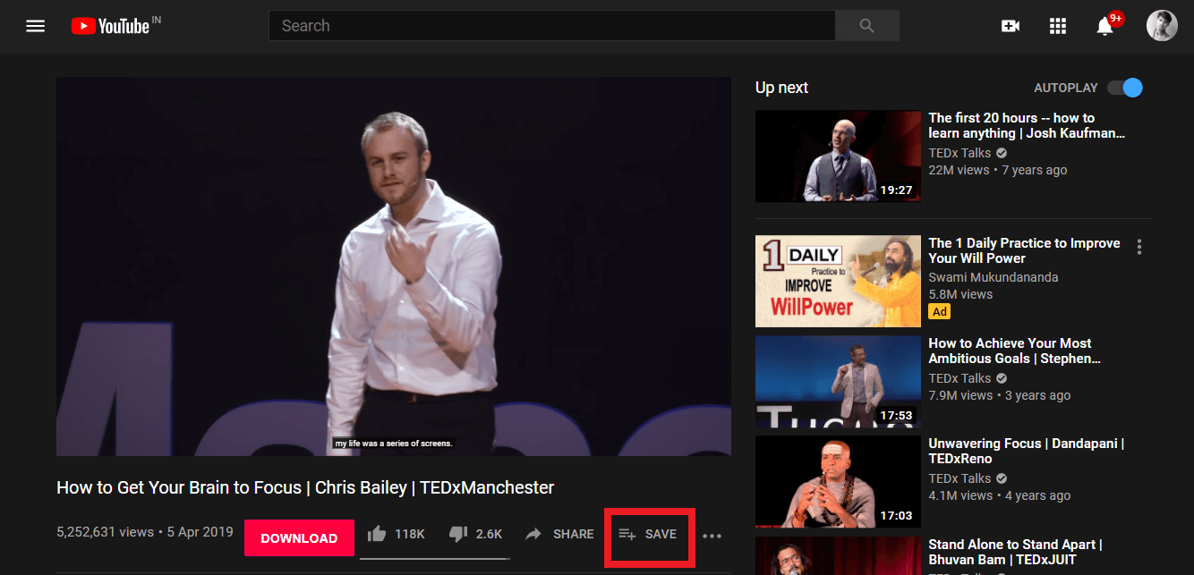 Make a click on the Save option under your video