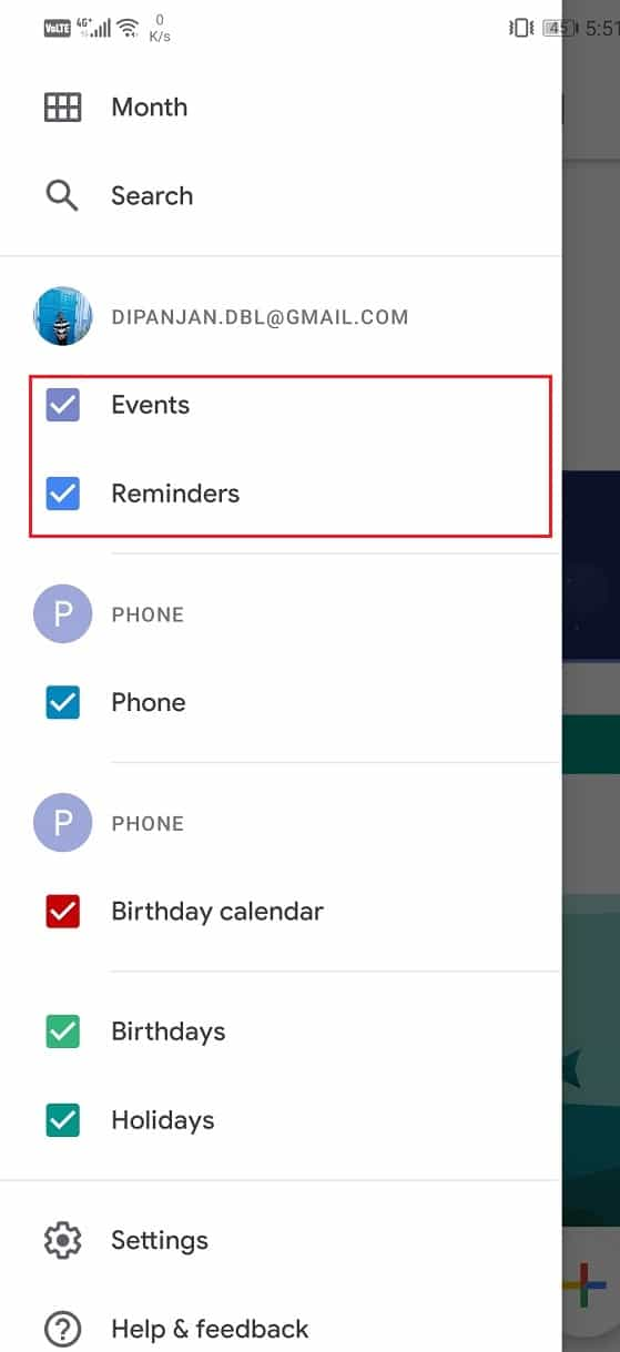 Make sure that the checkboxes next to Events and Reminders are selected