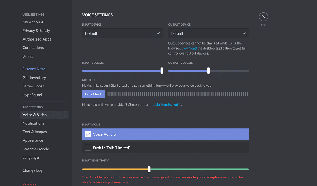Move to the application settings, scroll through it, and select Voice and Video