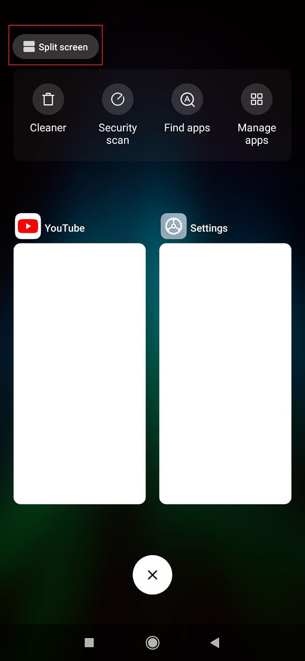 Navigate to Recent apps sections then tap on Slip-screen option