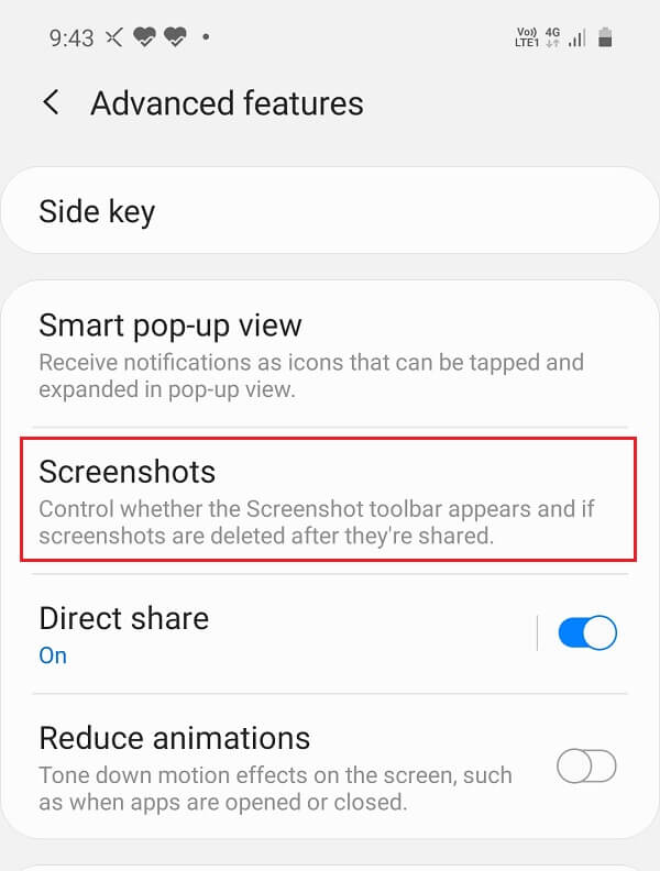 Open Settings on your device then tap on to the Advanced features