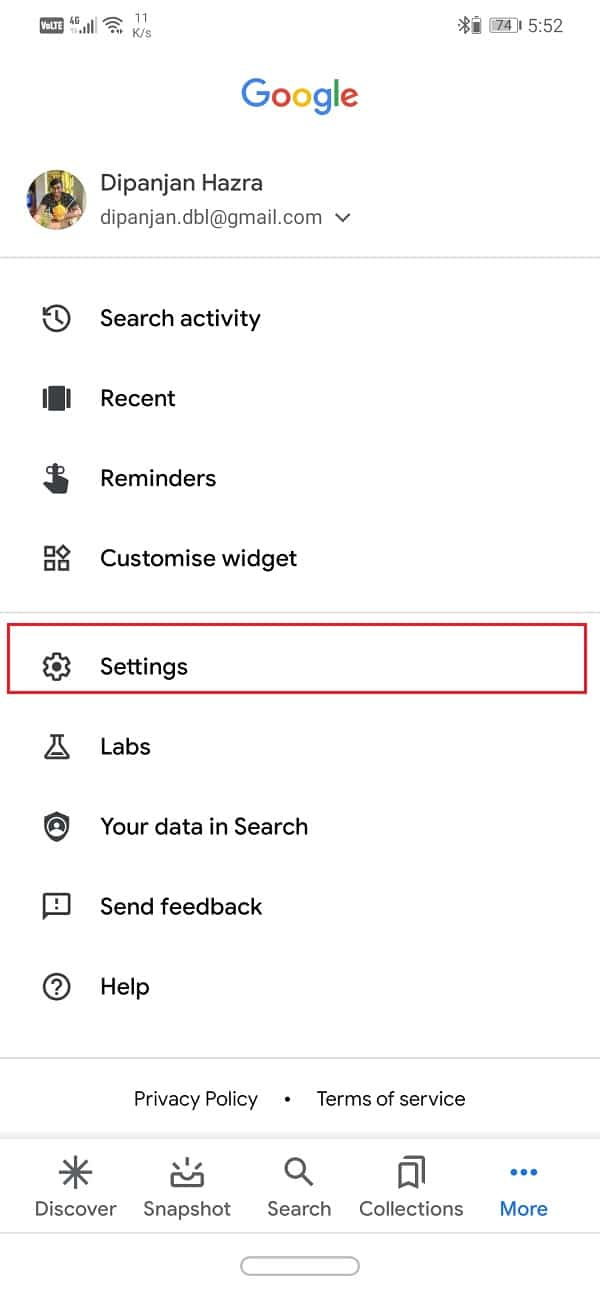 Open the Google App and go to Settings