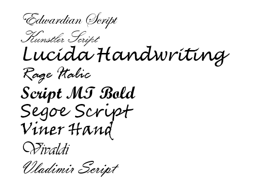 Preview of the fonts | Best Cursive Font in Microsoft Word