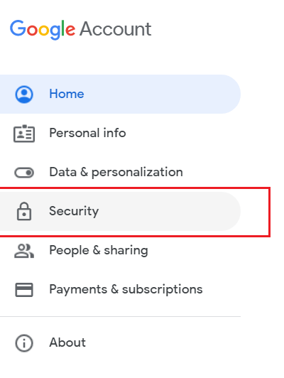 Select Security option from Google Account page