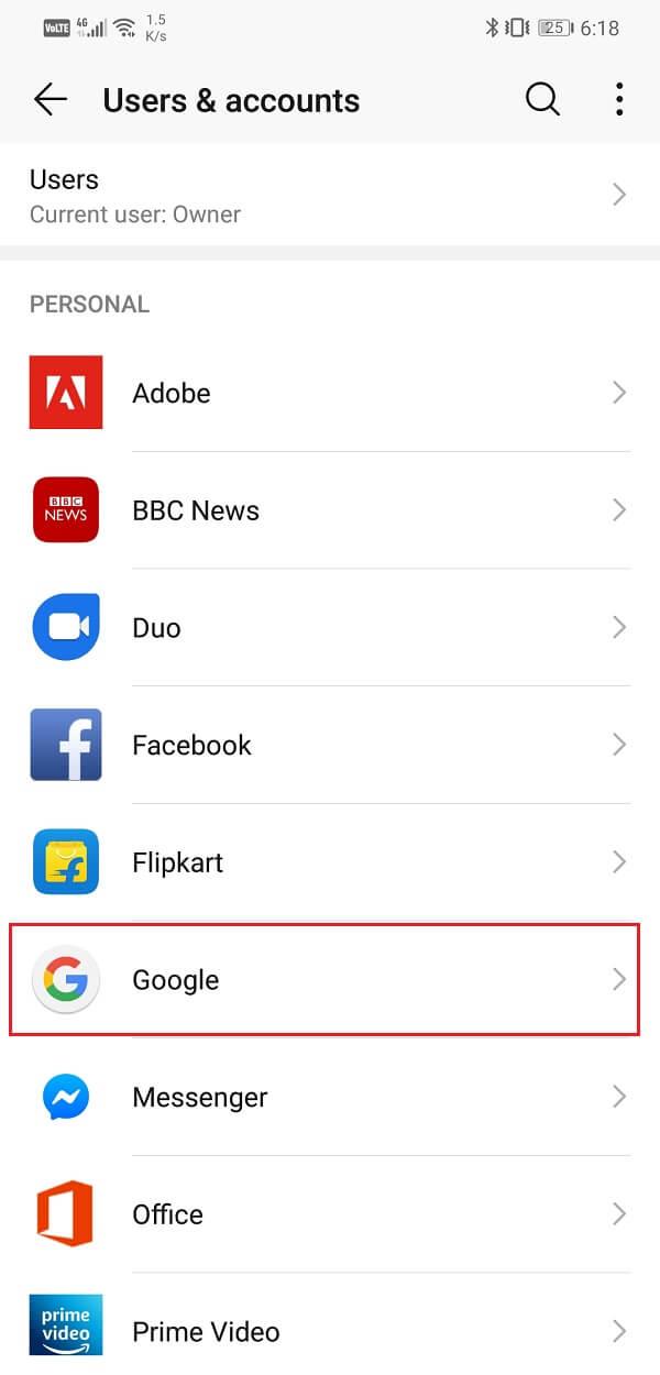 Select the Google option