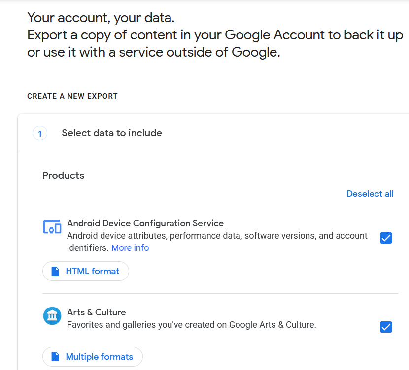 Select the Google products from where you want your data to be downloaded