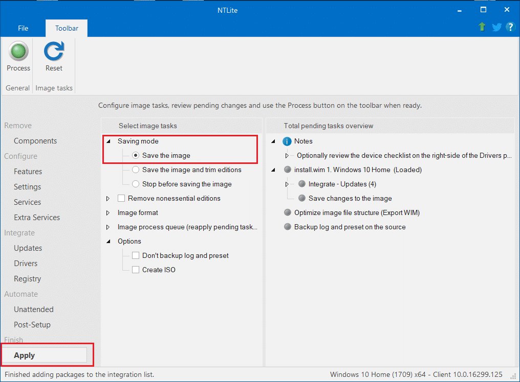 Select the Save the image option under the Saving Mode.