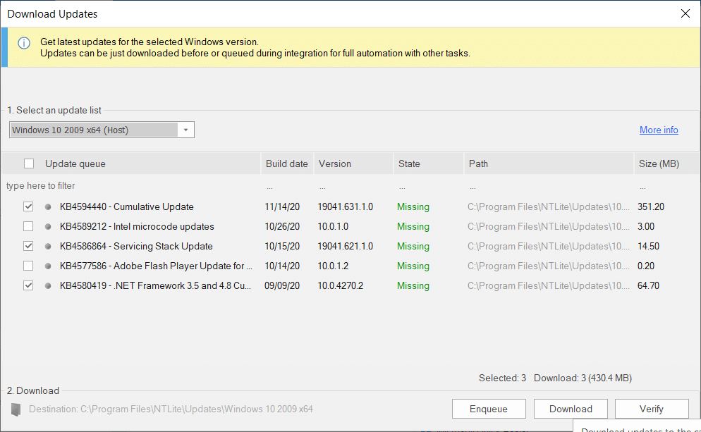 Select the Windows build number you want to update.