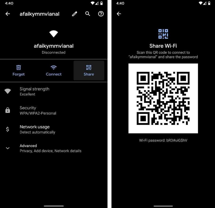 Share Wi-Fi Password in the form of a QR Code