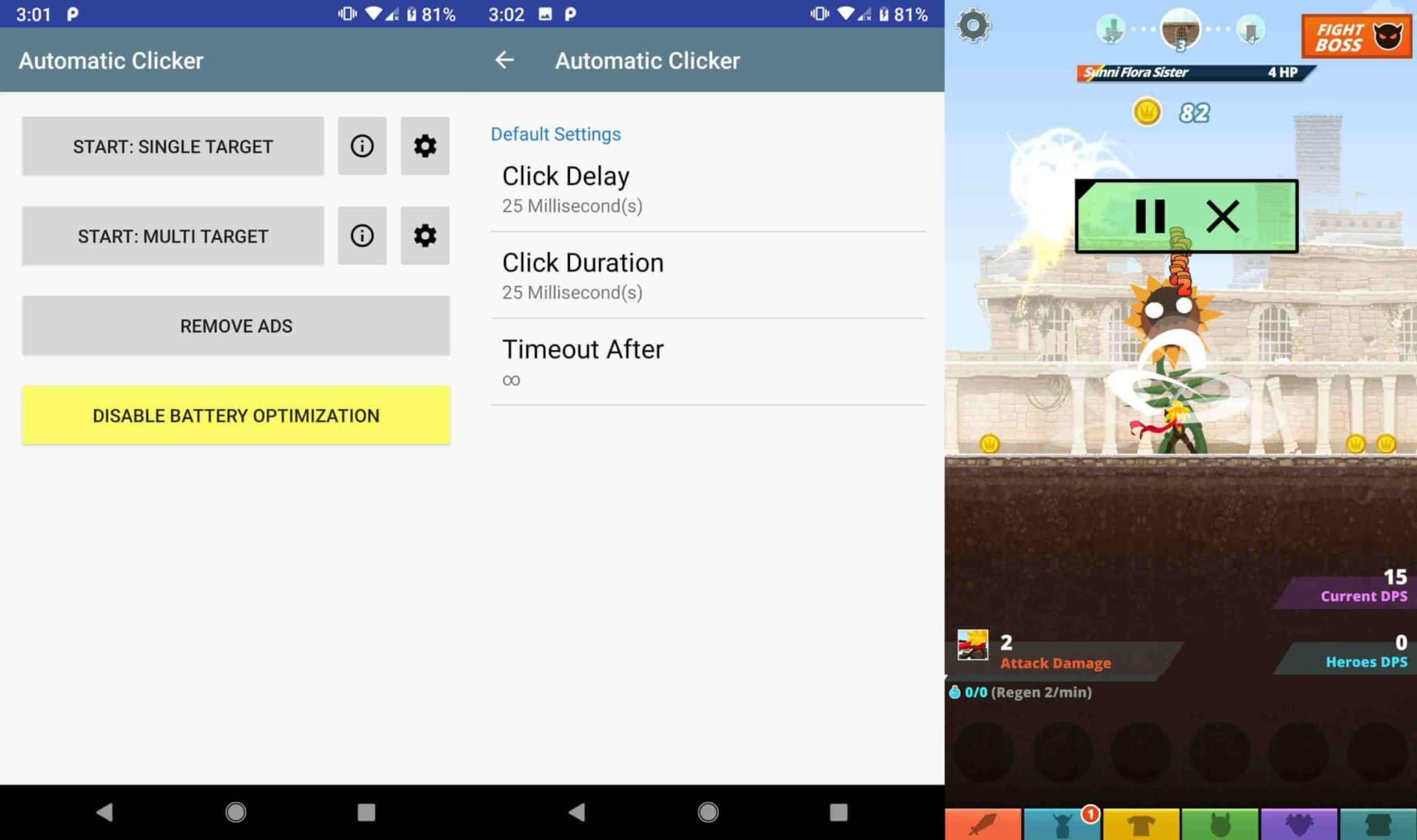 Start the app and customize the various settings like frequency of clicks and position