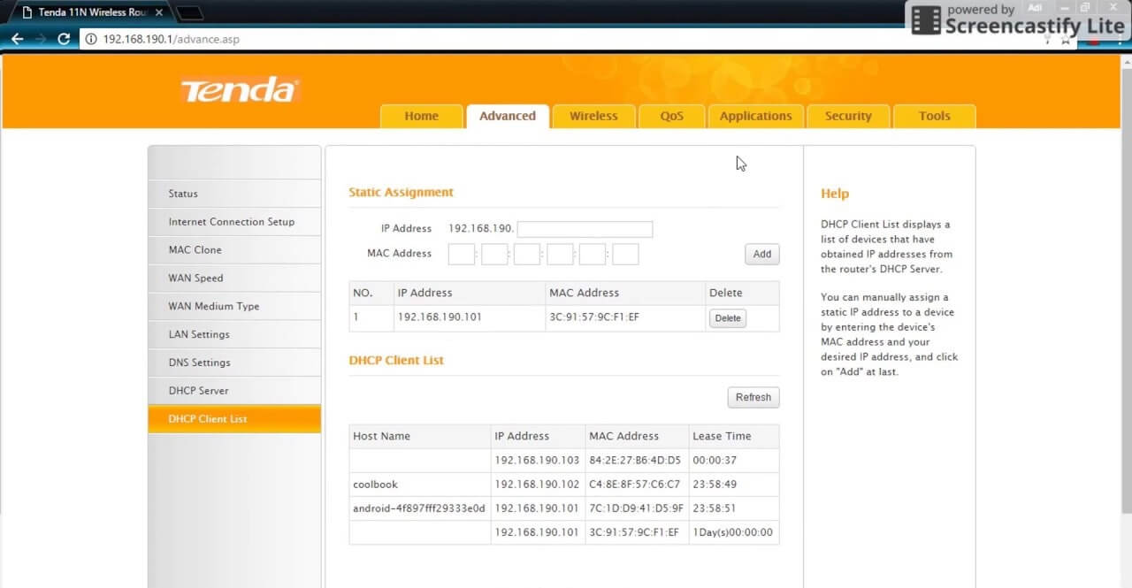 Tap on DHCP Client List option, and it will provide you with a list of all the devices