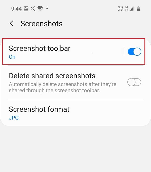 Tap on Screenshots then enable the toggle next to Screenshot toolbar.