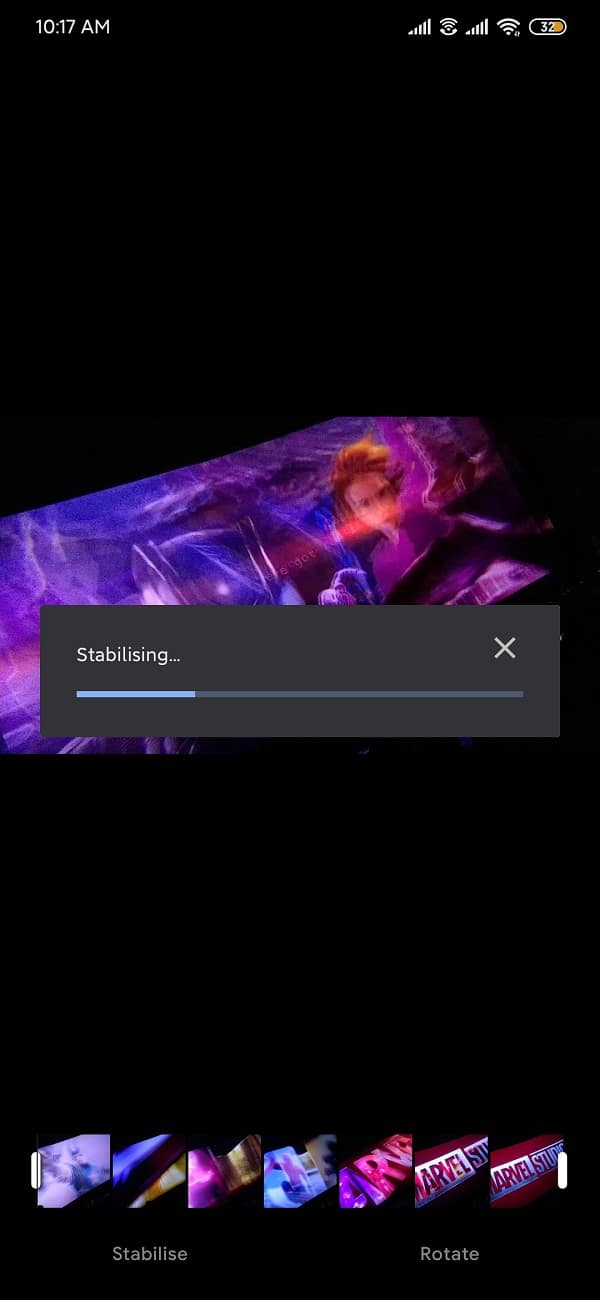 Tap on stabilize and the size of the video that you wish to stabilise   How to Edit Videos in Google Photos for Android