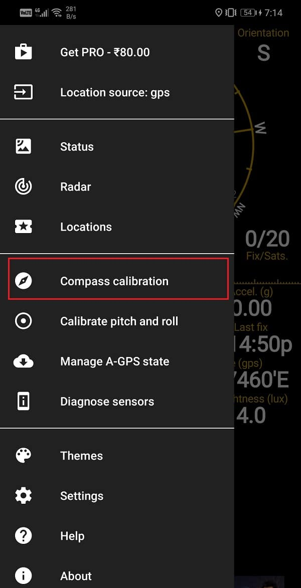 """Tap on the """"Compass Calibration"""" button"""