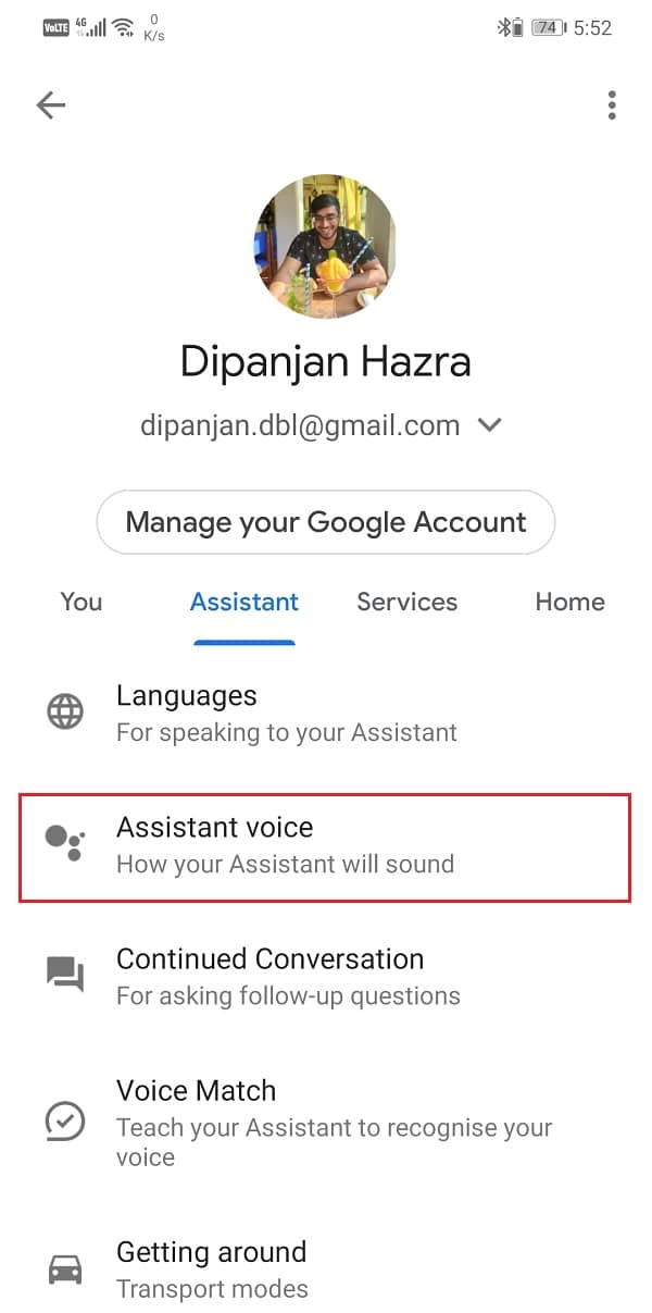 Tap on the Assistant tab and select the Assistant voice option