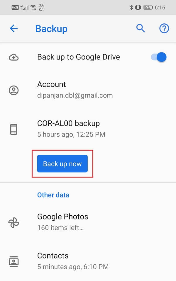 Tap on the Back up now button   Transfer data from your old Android phone to new one