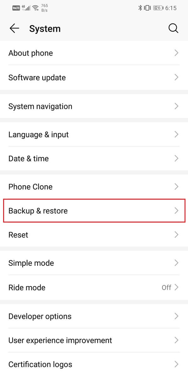 Tap on the Backup and Restore option   Transfer data from your old Android phone to new one