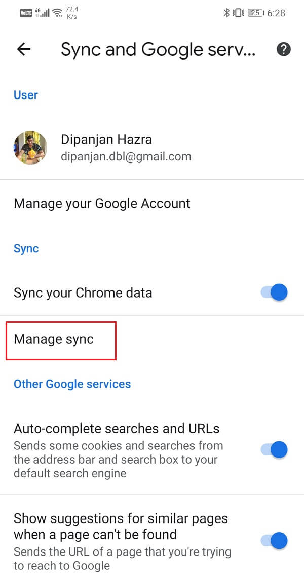 Tap on the Manage sync option