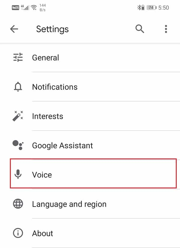 Tap on the Voice option