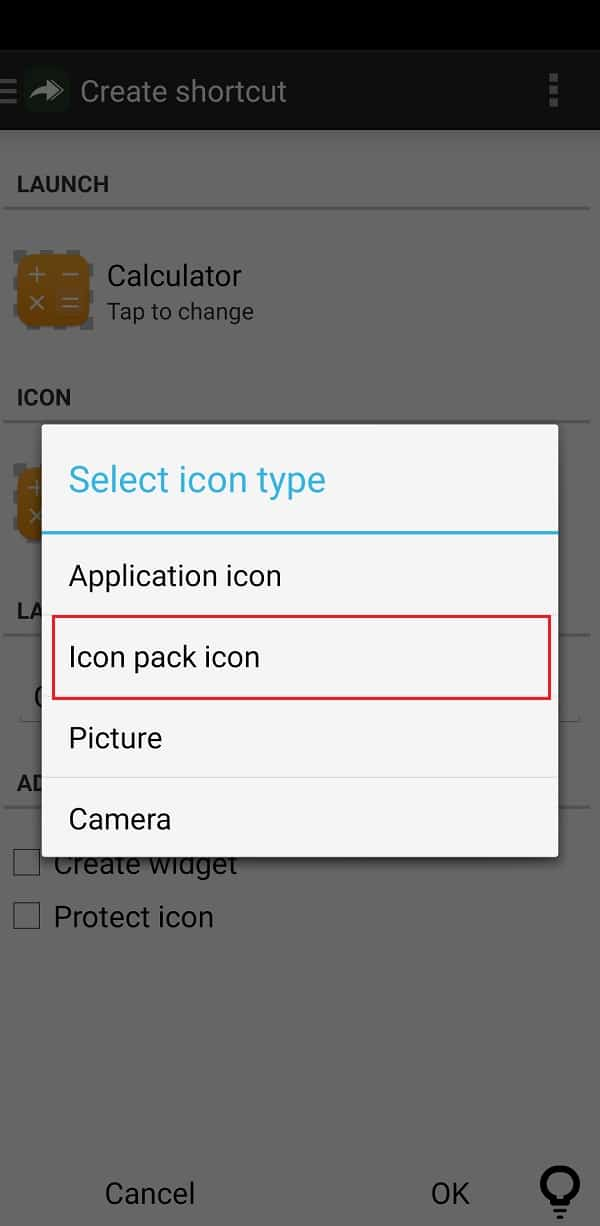Tap on the icon's image under the ICON tab and select one of the options