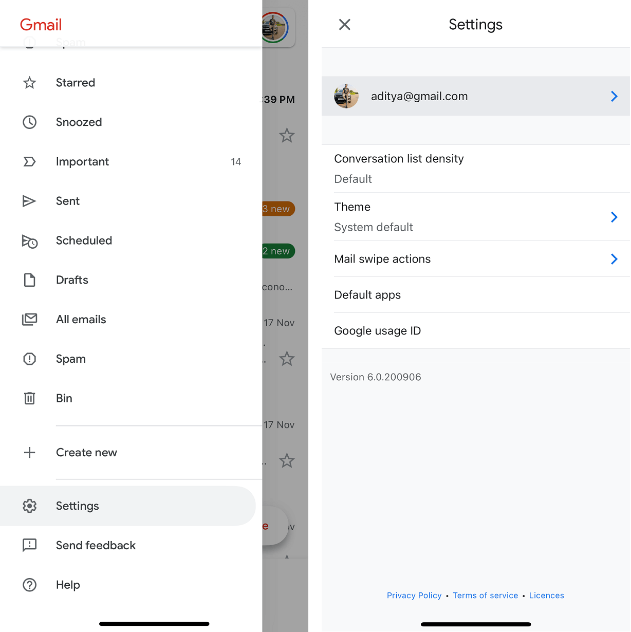 Tap on the three horizontal lines under Gmail app then select Settings