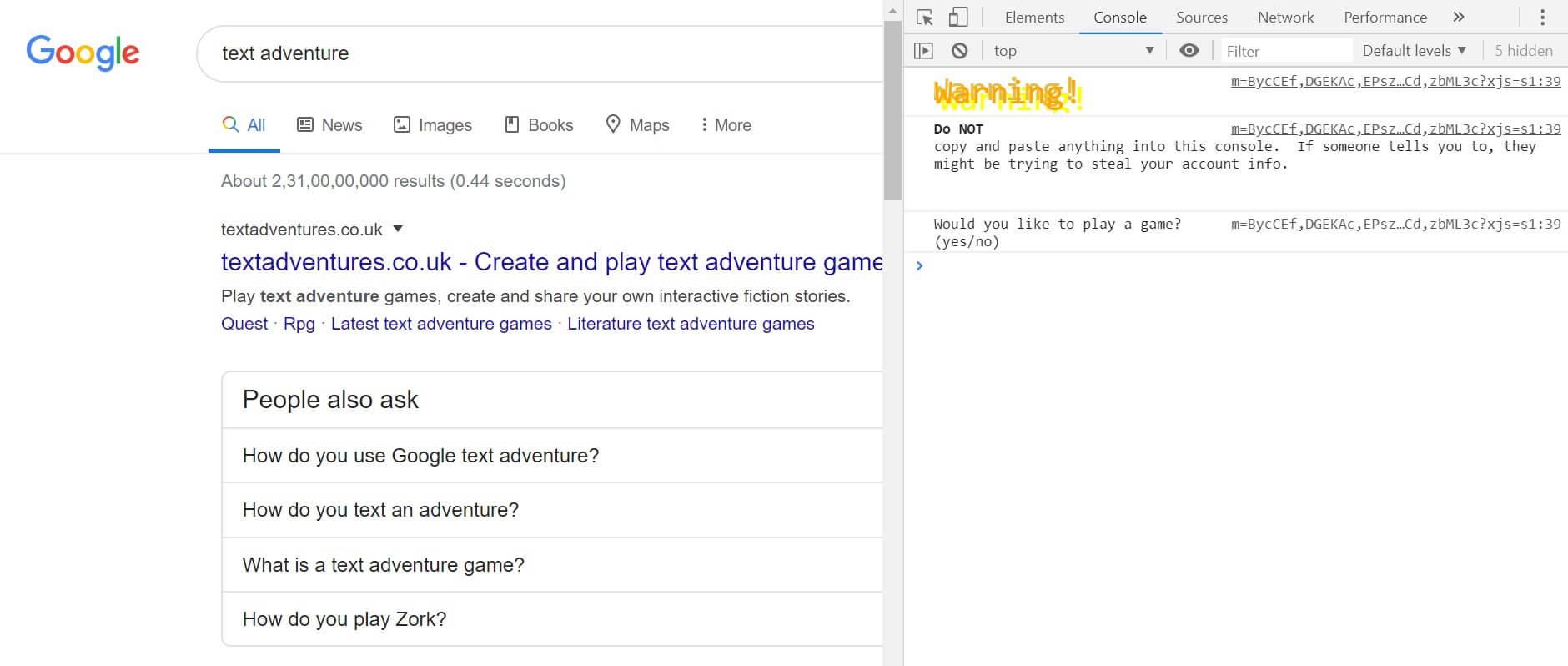 Text Adventure | Hidden Google Games to Play