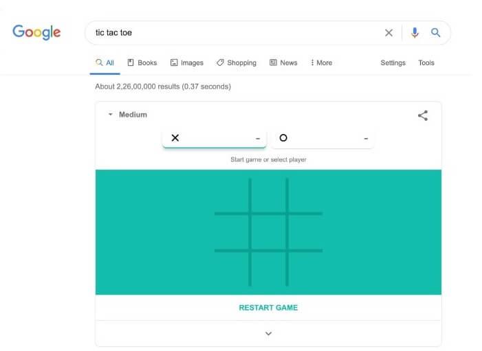 Tic Tac Toe | Hidden Google Games to Play