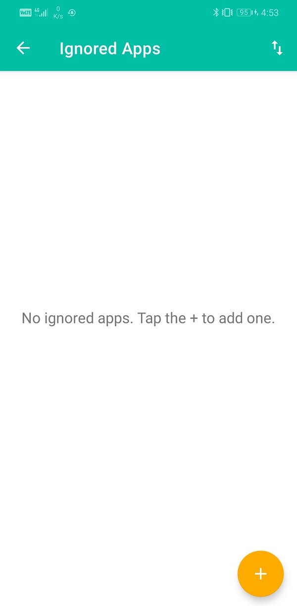 To add an app to the Blacklist simply launch the Unnotification app and tap on the Plus button