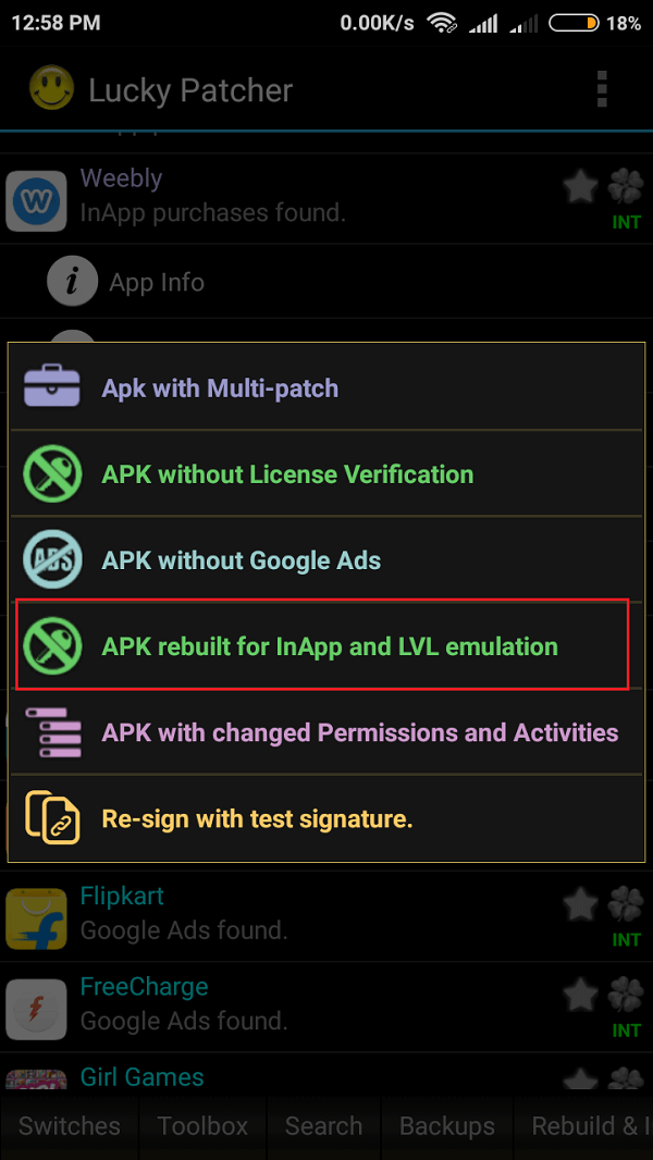 """To get unlimited resources in the game, tap on the """"APK rebuilt for InApp and LVL emulation"""" option"""