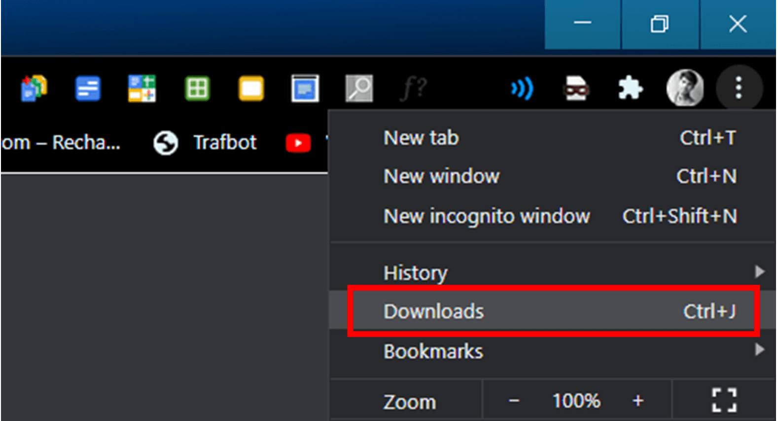 To open this Downloads section from the menu