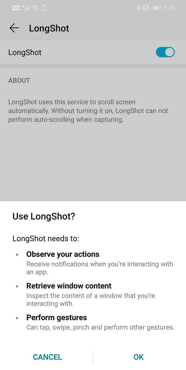 Toggle on the switch next to Longshot | How to Capture Scrolling Screenshots on Android