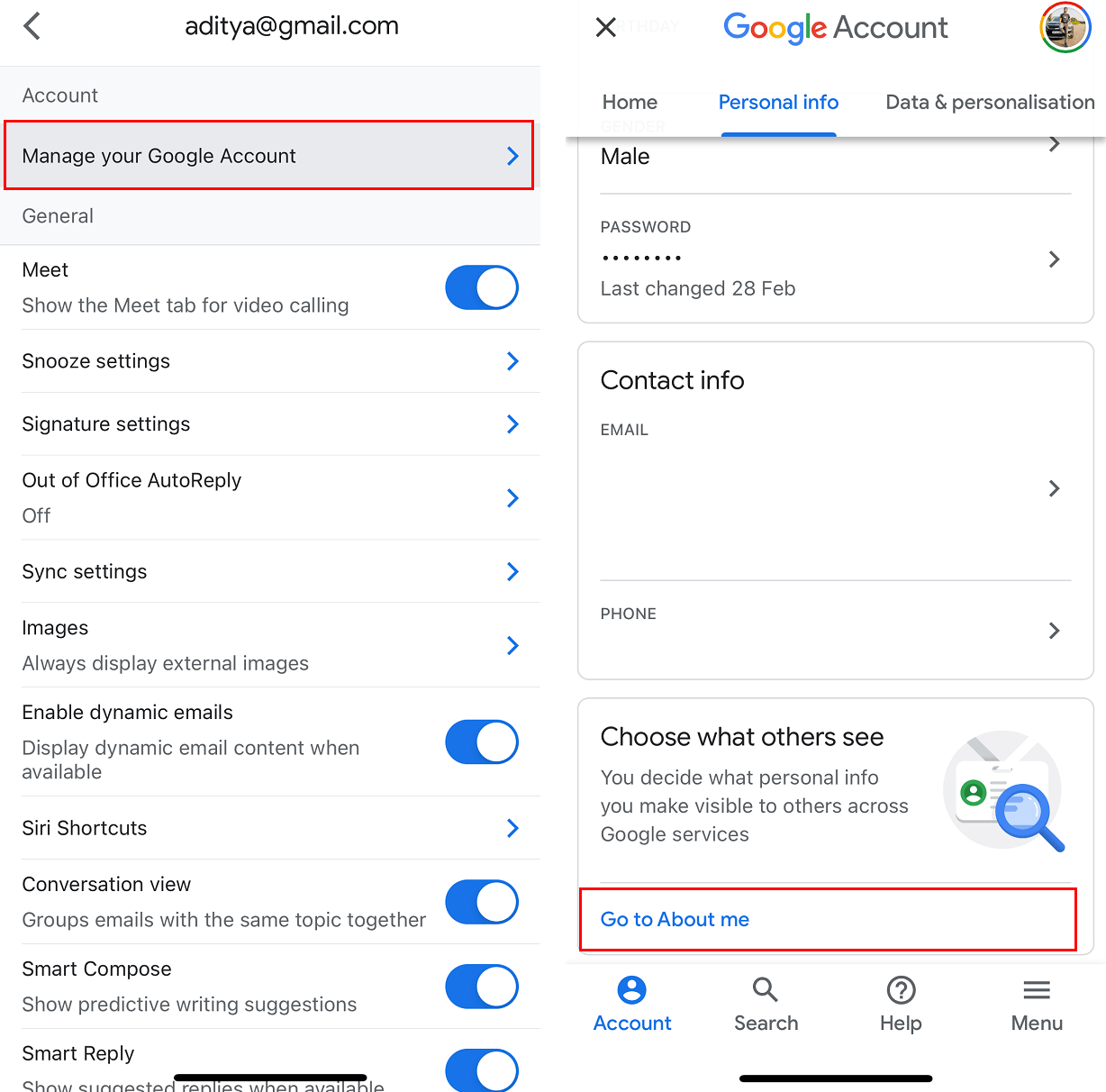 Under the Account section, tap on the Manage your Google Account option. | How to Remove Google or Gmail Profile Picture