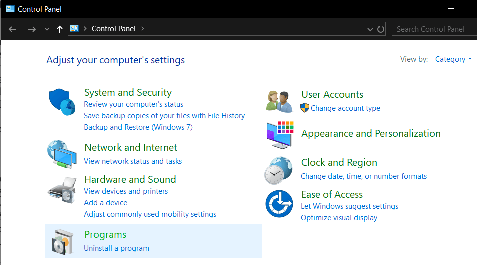 Under the Programs sectionin Control Panel, go for the 'Uninstall a program'