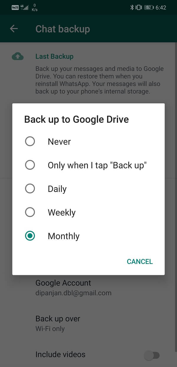 You can also change the Backup settings and set it to automatically backup at regular intervals