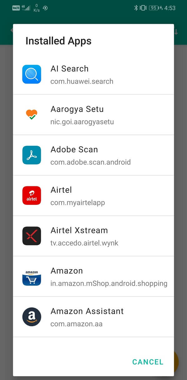 You can select which app you would like to add to Blacklist