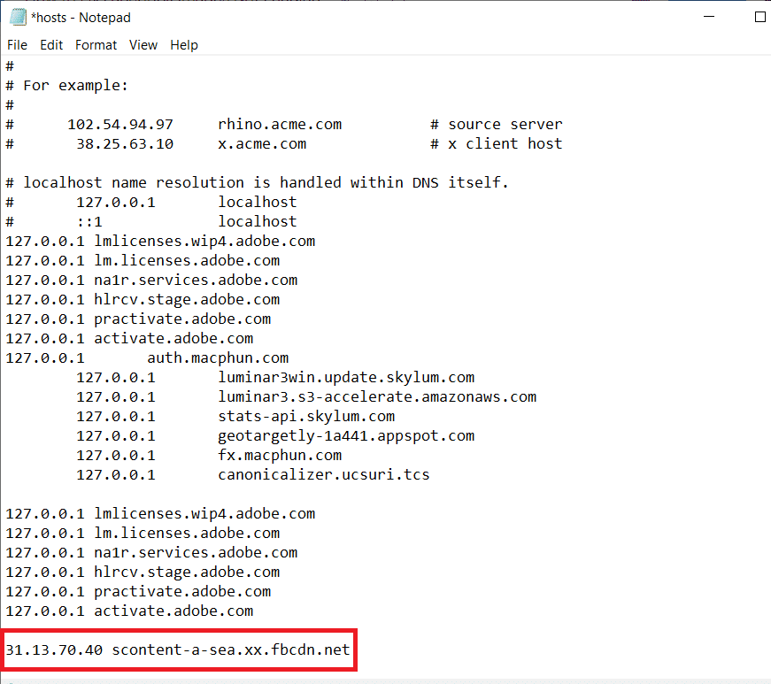 Add 31.13.70.40 scontent-a-sea.xx.fbcdn.net at the end of the host's document