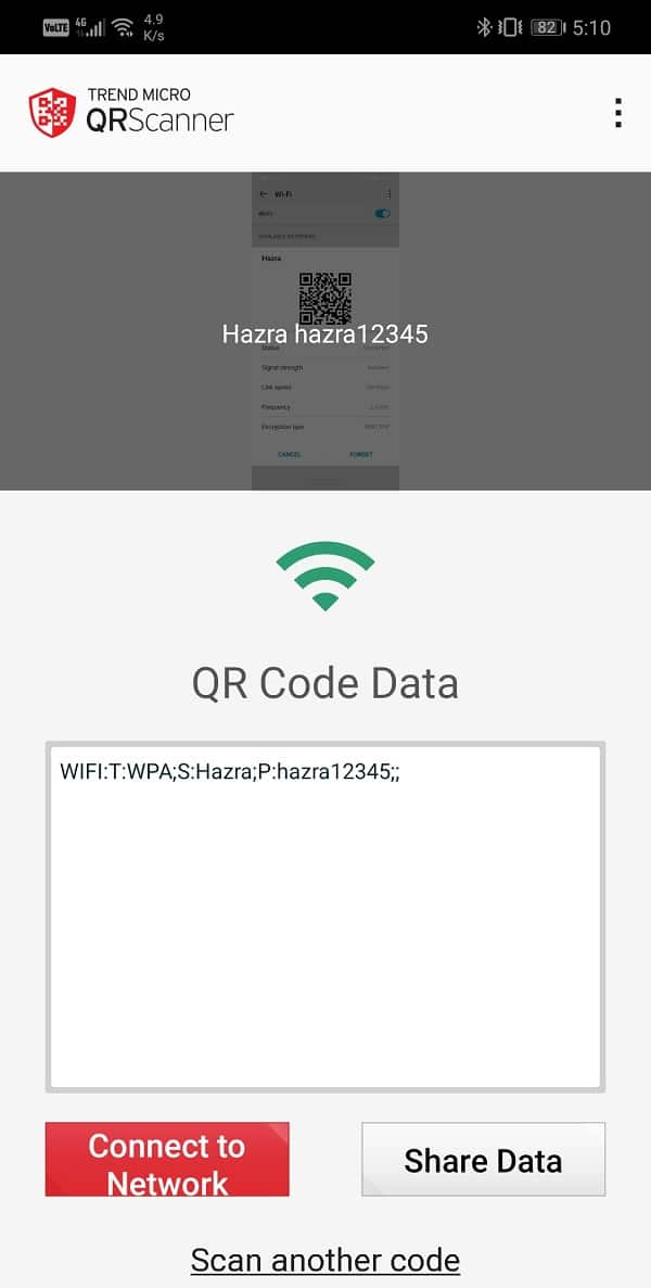 After that launch, the QR code decoder app will default open the camera