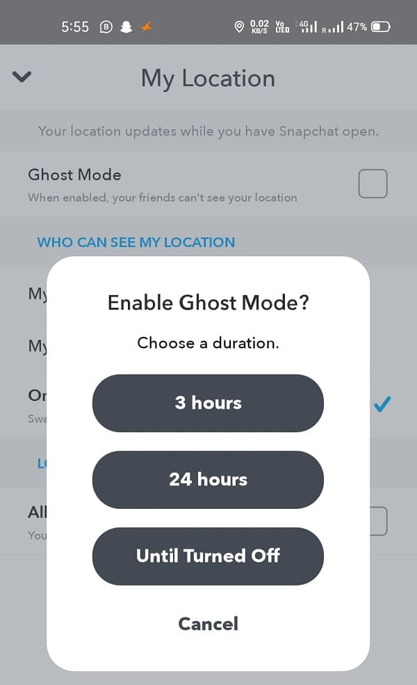 Asking you for three different options 3 hours, 24 hours and Until turned off   Fake or Change Your Location on Snapchat