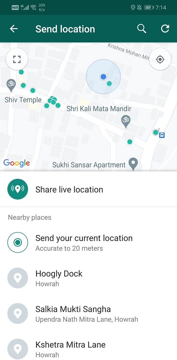 Can choose to share your location at that moment
