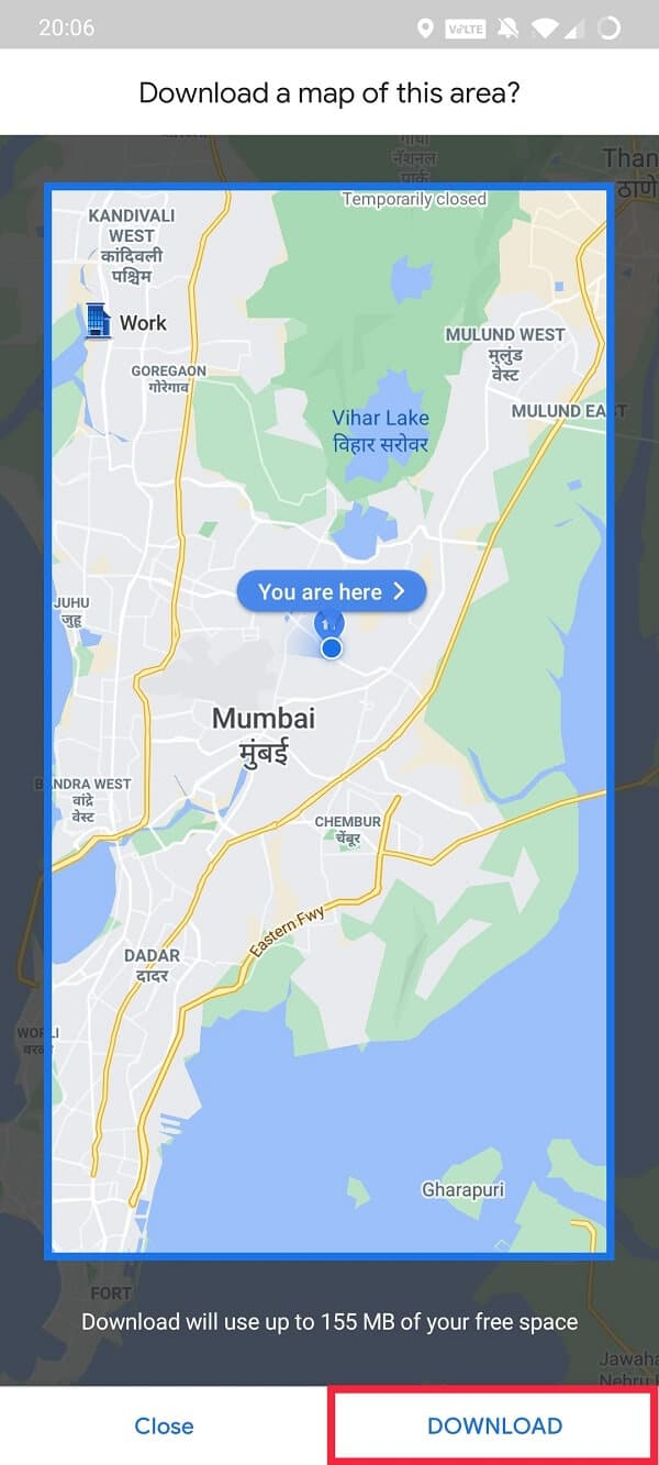 Click on Download to save an offline map   How to Use Google Maps Offline to Save Internet Data
