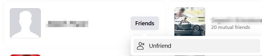 Click on Unfriend option