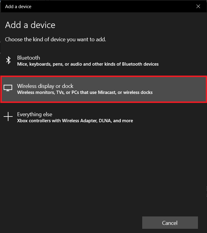 Click on Wireless display or dock | How to Set up & Use Miracast on Windows 10?