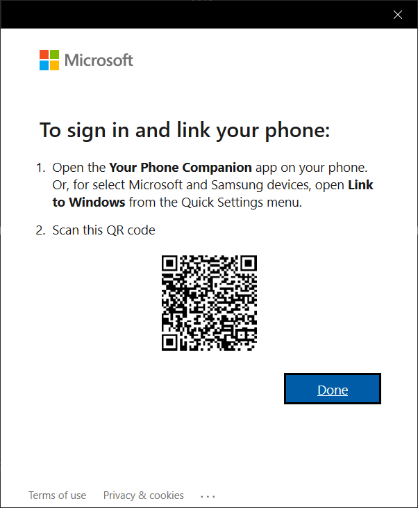 Click on the Open QR Code button | What is YourPhone.exe process in Windows 10